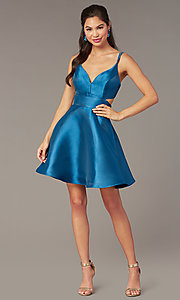Image of short v-neck Alyce hoco party dress with cut outs. Style: AL-3879 Detail Image 5