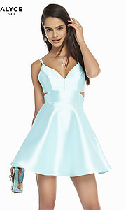 Image of short v-neck Alyce hoco party dress with cut outs. Style: AL-3879 Detail Image 7