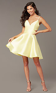 Image of short v-neck Alyce hoco party dress with cut outs. Style: AL-3879 Front Image