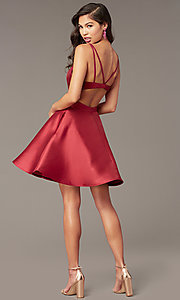 Image of short v-neck Alyce hoco party dress with cut outs. Style: AL-3879 Detail Image 4