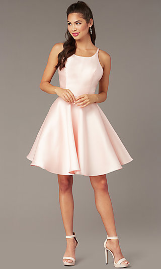 Short A-Line Satin Hoco Dress with Corset