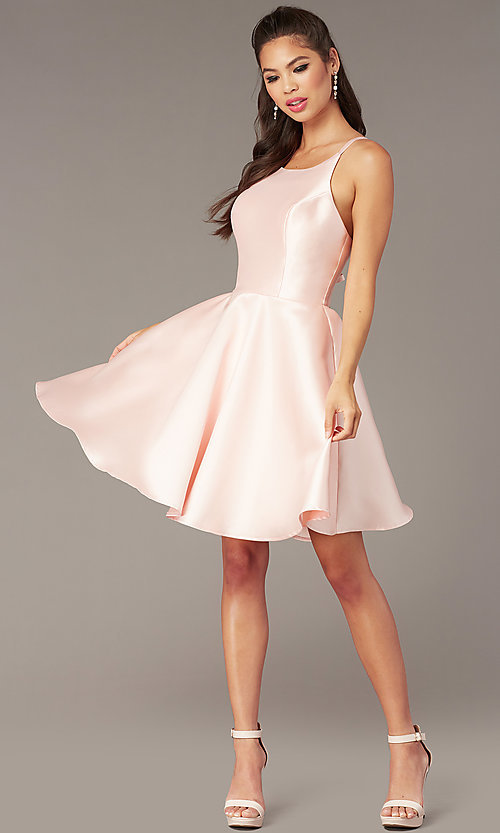 Image of short a-line satin hoco dress with corset. Style: AL-3880 Detail Image 1