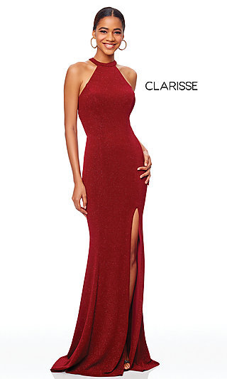 High-Neck Long Glitter Knit Prom Dress by Clarisse