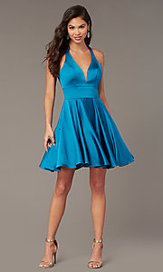 Image of hoco short a-line party dress with pockets. Style: AL-3882 Detail Image 2