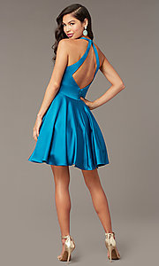 Image of hoco short a-line party dress with pockets. Style: AL-3882 Detail Image 3