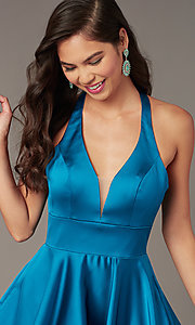 Image of hoco short a-line party dress with pockets. Style: AL-3882 Detail Image 4