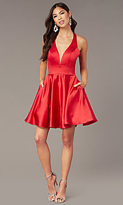 Image of hoco short a-line party dress with pockets. Style: AL-3882 Detail Image 1