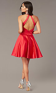 Image of hoco short a-line party dress with pockets. Style: AL-3882 Back Image