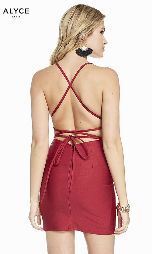 Image of short fitted open-back homecoming dress by Alyce. Style: AL-4087 Back Image