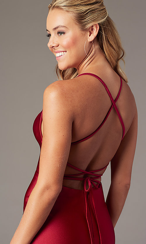 Image of short fitted open-back homecoming dress by Alyce. Style: AL-4087 Detail Image 2