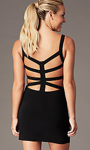 Image of caged-open-back short hoco party dress. Style: AL-4095 Detail Image 1