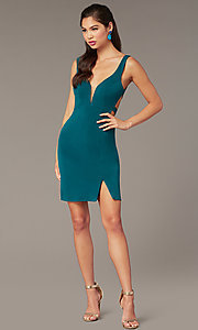 Image of caged-open-back short hoco party dress. Style: AL-4095 Detail Image 3