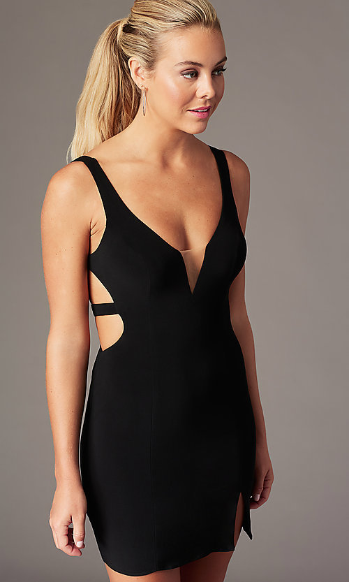 Image of caged-open-back short hoco party dress. Style: AL-4095 Detail Image 2