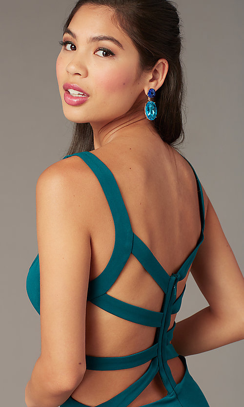 Image of caged-open-back short hoco party dress. Style: AL-4095 Detail Image 5