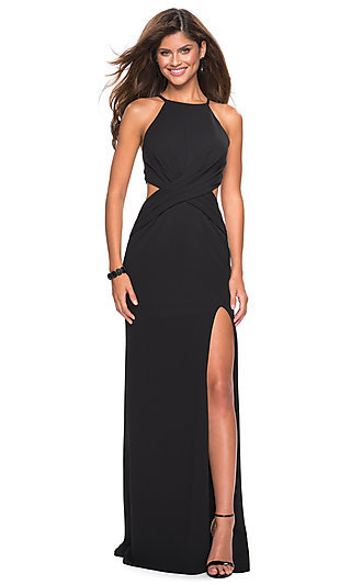 b7e60f2ff6 Navy. Strappy Open Back Long Prom Dress by La Femme
