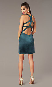 Image of short v-neck Alyce hoco dress with cut outs. Style: AL-A4097 Detail Image 2