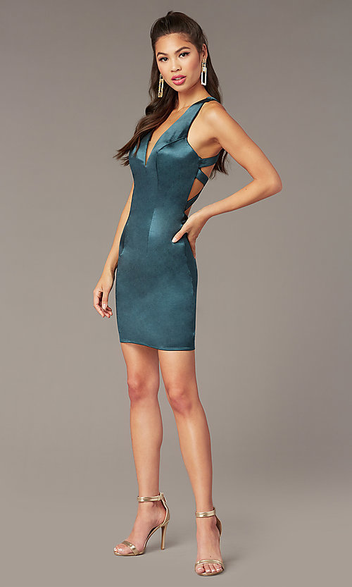 Image of short v-neck Alyce hoco dress with cut outs. Style: AL-A4097 Detail Image 3