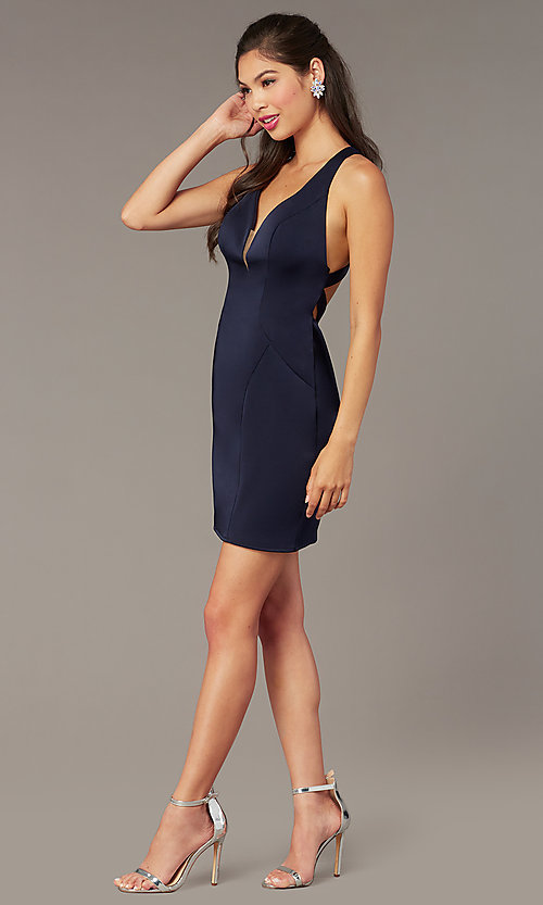 Image of short v-neck open-back Alyce homecoming dress. Style: AL-A4099 Detail Image 3