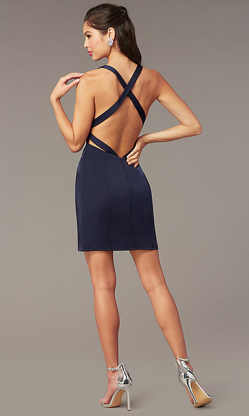 Image of short v-neck open-back Alyce homecoming dress. Style: AL-A4099 Detail Image 4