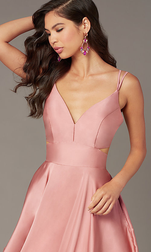 Image of Alyce short a-line open-back homecoming dress. Style: AL-A4117 Detail Image 4