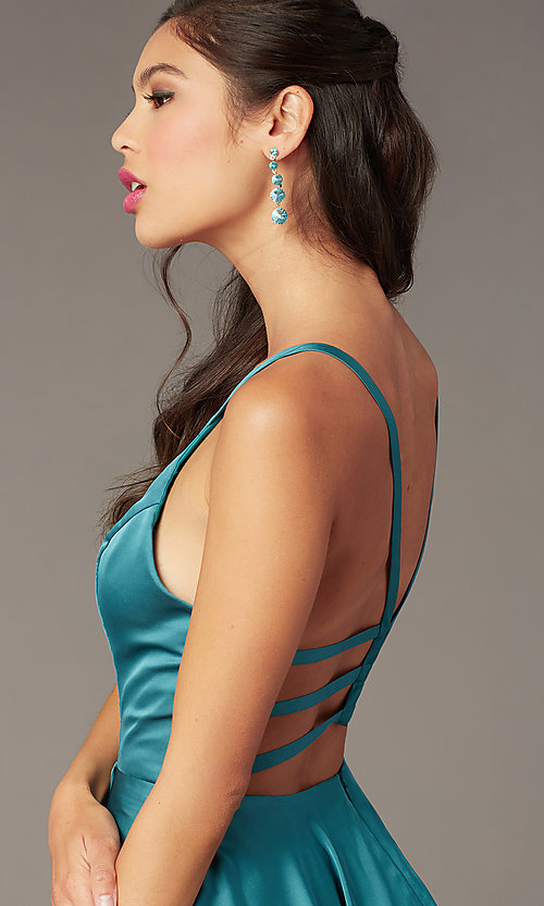 Image of a-line open-back satin homecoming dress by Alyce. Style: AL-A4118 Detail Image 4