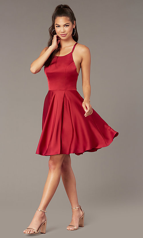 Image of a-line open-back satin homecoming dress by Alyce. Style: AL-A4118 Detail Image 5