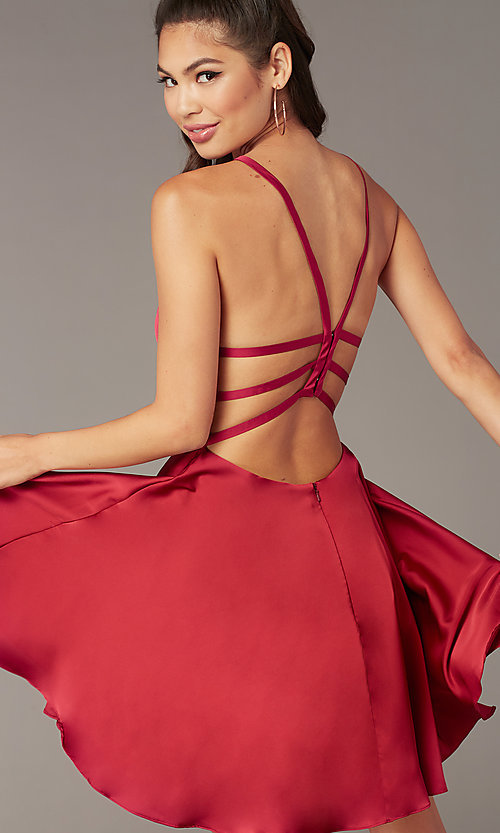 Image of a-line open-back satin homecoming dress by Alyce. Style: AL-A4118 Detail Image 7