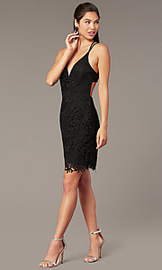 Image of strappy-back short formal lace dress by Alyce. Style: AL-A4141 Detail Image 2