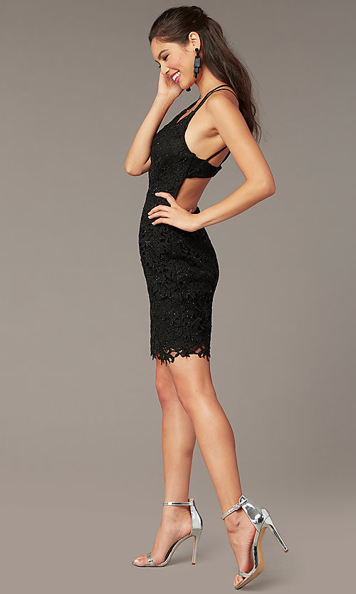 Image of strappy-back short formal lace dress by Alyce. Style: AL-A4141 Front Image