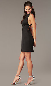 Image of black glitter jersey short formal hoco dress. Style: AL-A4160 Detail Image 2