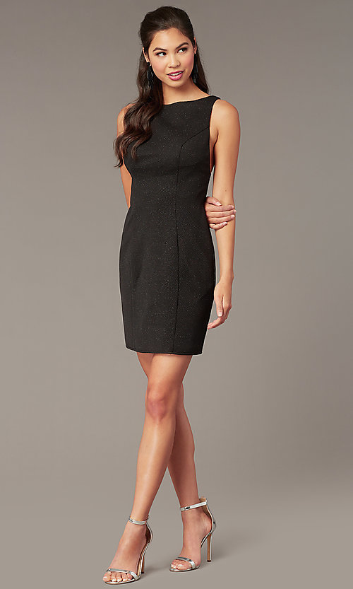 Image of black glitter jersey short formal hoco dress. Style: AL-A4160 Back Image