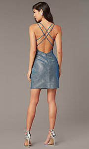 Image of blue opal short hoco dress in cracked-ice taffeta. Style: AL-4179 Detail Image 2