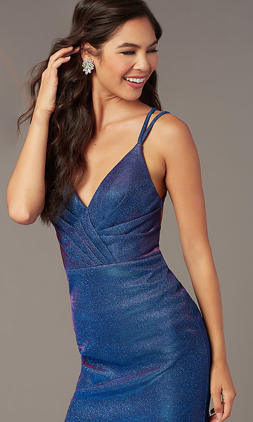 Image of short glitter Alyce hoco dress in treasure blue. Style: AL-A4181 Detail Image 1