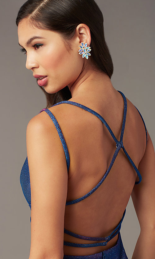 Image of short glitter Alyce hoco dress in treasure blue. Style: AL-A4181 Detail Image 2