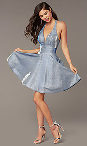 Image of short cracked-ice taffeta homecoming party dress. Style: AL-4182 Front Image