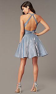 Image of short cracked-ice taffeta homecoming party dress. Style: AL-4182 Back Image