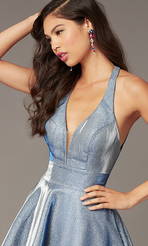 Image of short cracked-ice taffeta homecoming party dress. Style: AL-4182 Detail Image 1