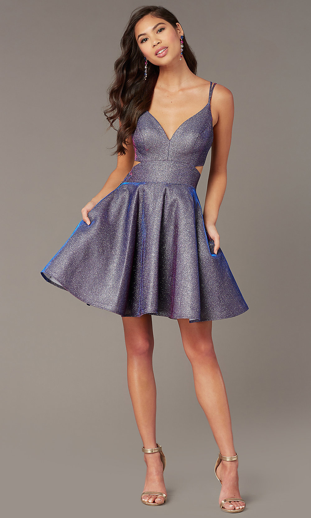 Iridescent Glitter Short Blue Hoco Dress Promgirl