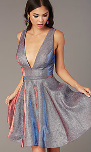 Image of v-neck short glitter homecoming dress by Alyce. Style: AL-4186 Detail Image 4