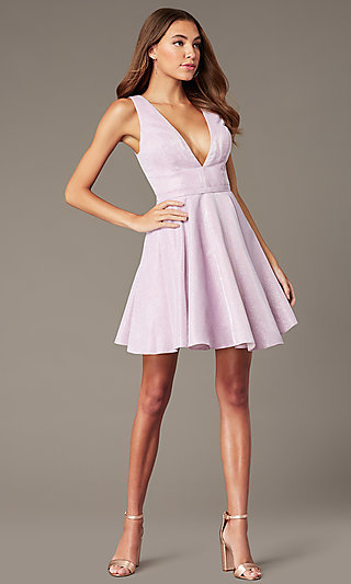 V-Neck Short Glitter Homecoming Dress by Alyce
