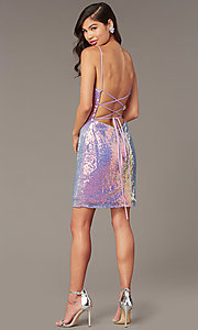 Image of open-back short sequin homecoming dress by Alyce. Style: AL-4201 Detail Image 3