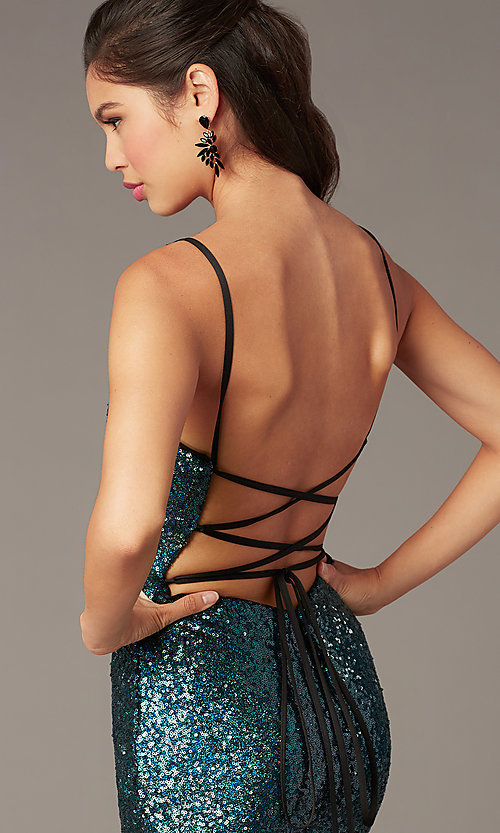 Image of open-back short sequin homecoming dress by Alyce. Style: AL-4201 Detail Image 1
