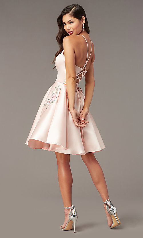 Image of short satin a-line homecoming dress by Alyce. Style: AL-3887 Detail Image 7
