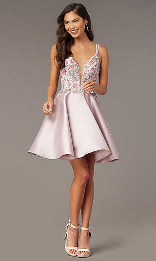 Short Embroidered-Bodice Homecoming Dress by Alyce