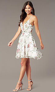 Image of floral-print chiffon short Alyce party dress. Style: AL-3868-I Front Image