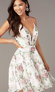 Image of floral-print chiffon short Alyce party dress. Style: AL-3868-I Detail Image 1