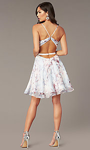 Image of open-back short floral-print hoco party dress Style: AL-3868-IB Back Image