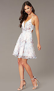 Image of open-back short floral-print hoco party dress Style: AL-3868-IB Detail Image 2