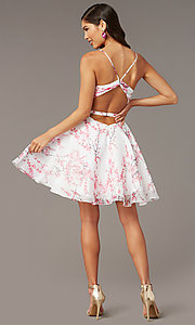 Image of blossom pink print white hoco party dress by Alyce. Style: AL-3868-BP Back Image