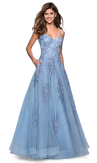 Tulle Overlay Long Lace Prom Dress by La Femme